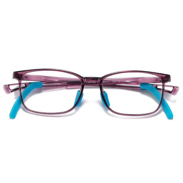 Clever - (Age 5-13)Children Non-slip Blue Light Blocking Glasses - Transparent Purple