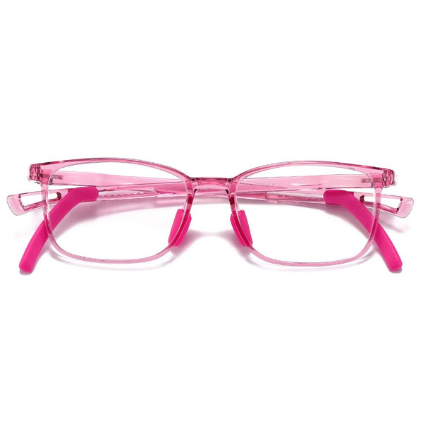Clever - (Age 5-13)Children Non-slip Blue Light Blocking Glasses-Transparent Pink