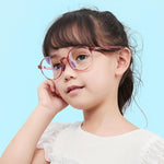 Smart - (Age 5-13)Children Non-slip Blue Light Blocking Glasses-Transparent Light Red