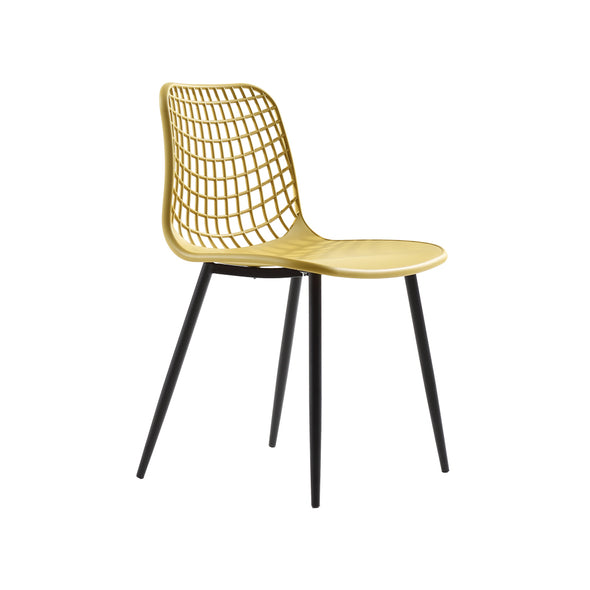 2 Pcs Dining Chair in Yellow Colour