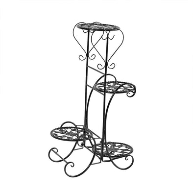 Levede Flower Shape Metal Plant Stand with 4 Plant Pot Space in Black Colour