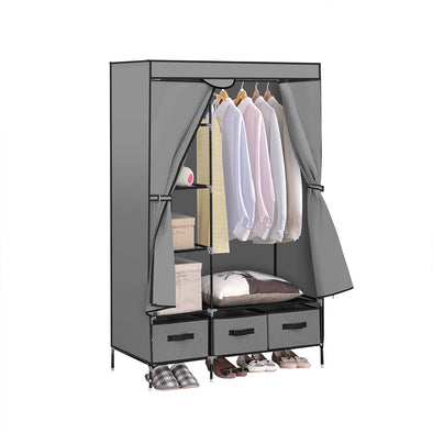 Portable Wardrobe with 3 Drawer Grey