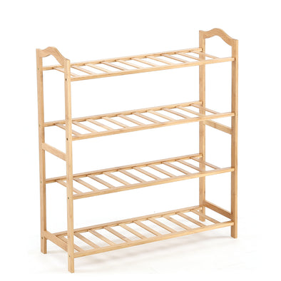 Levede Bamboo Shoe Rack Storage Wooden Organizer Shelf Stand 4 Tiers Layers 90cm