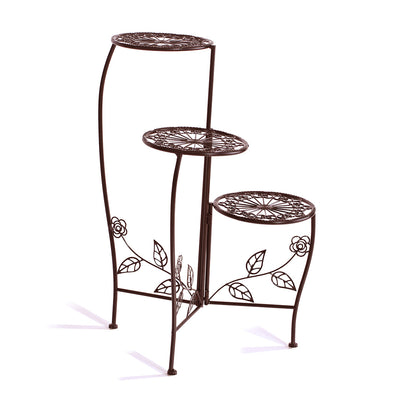 Wrought Outdoor Indoor Flower Pots Plant Stand Garden Metal Corner Shelf Bronze
