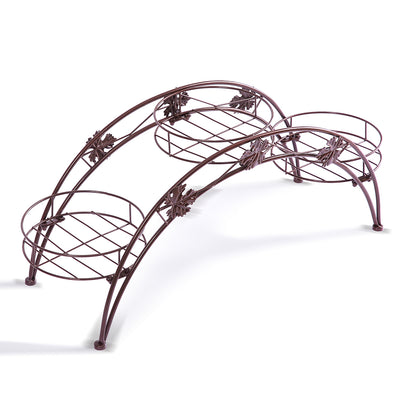 Levede Plant Stand Garden Decor Flower Pot Rack Wrought Iron Arch Shelf Bronze