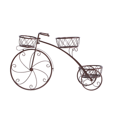 Levede Bicycle Shape Metal Plant Stand 3 Pots Flower Planter Corner Shelf Bronze