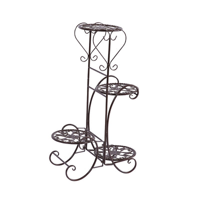 Levede Flower Shape Metal Plant Stand with 4 Plant Pot Space in Bronze Colour