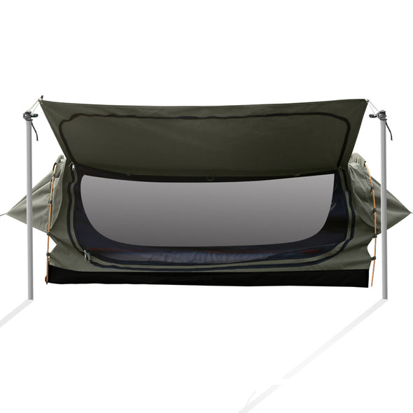 Mountview Camping Swags Canvas Free Standing Swag Dome Tents Kings Single Grey