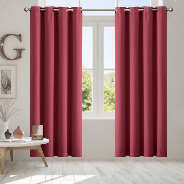 2 Panels Wine 40x108 Inches Blockout Curtains