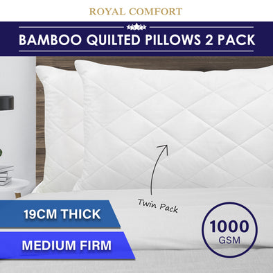 Luxury - Bamboo Quilted Pillow - Twin Pack