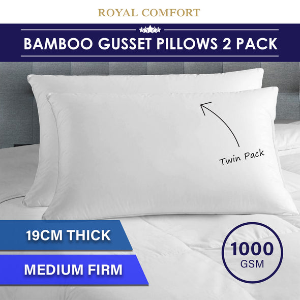 Luxury - Bamboo Gusset Pillow - Twin Pack
