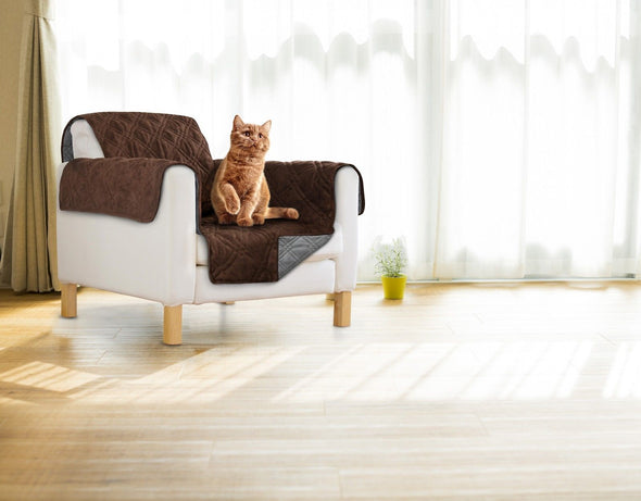 Sprint Industries Pet'S Sofa Cover - Single Chair Size Chocolate/Charcoal