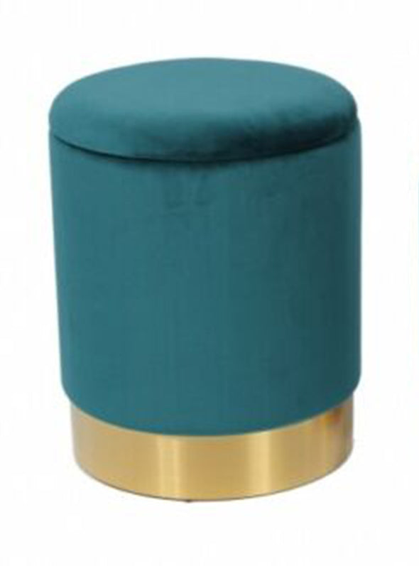 Rima Ottoman / Low Stool Blue Velvet with Gold Base
