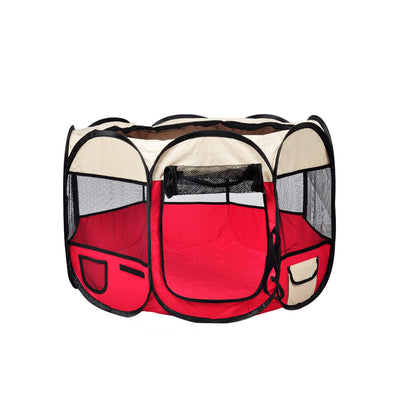PaWz Pet Soft Playpen Dog Cat Puppy Play Round Crate Cage Tent Portable L Red