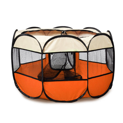 PaWz Pet Soft Playpen Dog Cat Puppy Play Round Crate Cage Tent Portable L Orange
