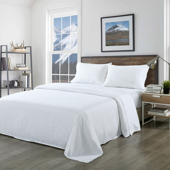 Royal Comfort Blended Bamboo Sheet Set White - Queen