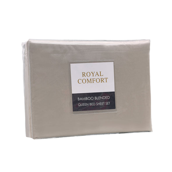 Royal Comfort Blended Bamboo Sheet Set Warm Grey - Queen