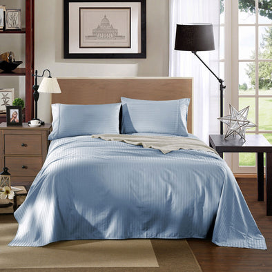 Kensington 1200Tc Cotton Sheet Set In Stripe-King - Chambray (Blue)