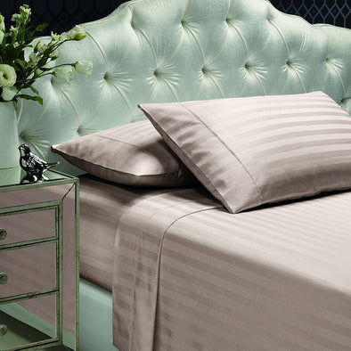 Style & Co 1000TC Egyptian Cotton Stripe Sheet Set - Queen - Linen