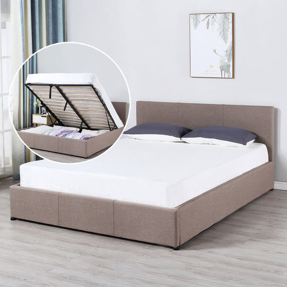 Milano Luxury Gas Lift Bed Frame w/ Headboard - Beige - King