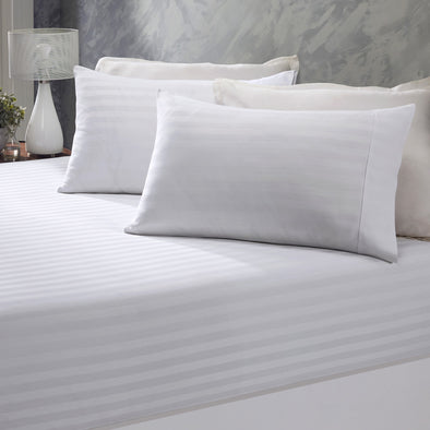 Royal Comfort Damask Stripe Cotton Blend 3-Piece Sheet Set | Double | White