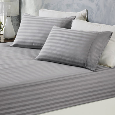 Royal Comfort Damask Stripe Cotton Blend 3-Piece Sheet Set | Double | Charcoal Grey