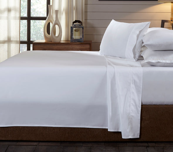 Royal Comfort - 250TC 100% Organic Cotton 4 Piece Sheet Set - Queen - White