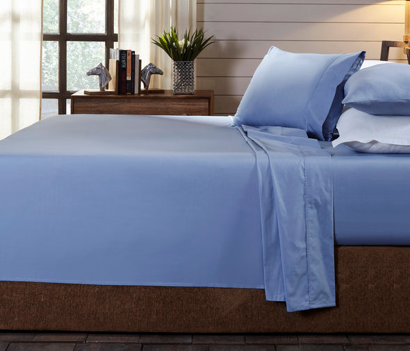 Royal Comfort - 250TC 100% Organic Cotton 4 Piece Sheet Set - Queen - Indigo