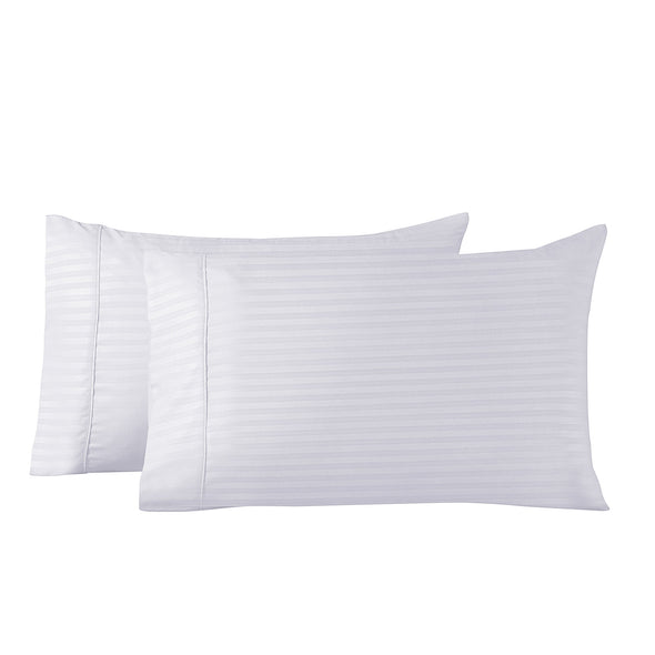 Royal Comfort Blended Bamboo Sheet Set with Stripes - Double - White