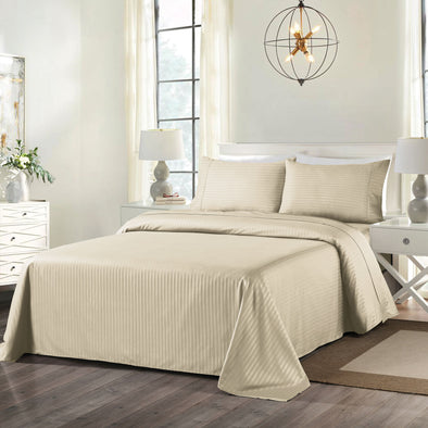 Royal Comfort Blended Bamboo Sheet Set with Stripes - King - Sand