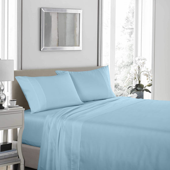 Royal Comfort 1200TC Ultrasoft 4 Piece Sheet Set - Double - Sky Blue