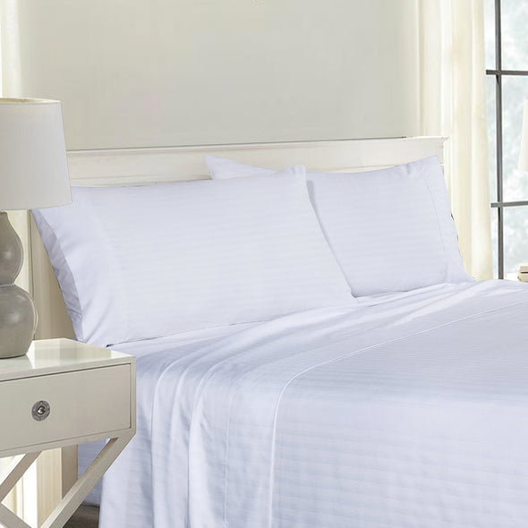 Royal Comfort Blended Bamboo Pillowcase Twin Pack With Stripes - White