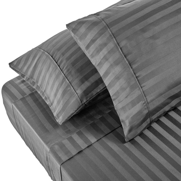 Royal Comfort 1200 Thread count Damask Stripe Cotton Blend sheet sets Queen Charcoal Grey
