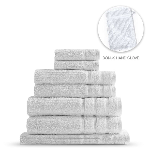 Royal Comfort Eden Egyptian Cotton 600 GSM 8 Piece Towel Pack White
