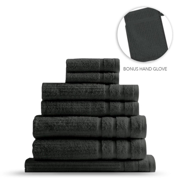 Royal Comfort Eden Egyptian Cotton 600 GSM 8 Piece Towel Pack Granite
