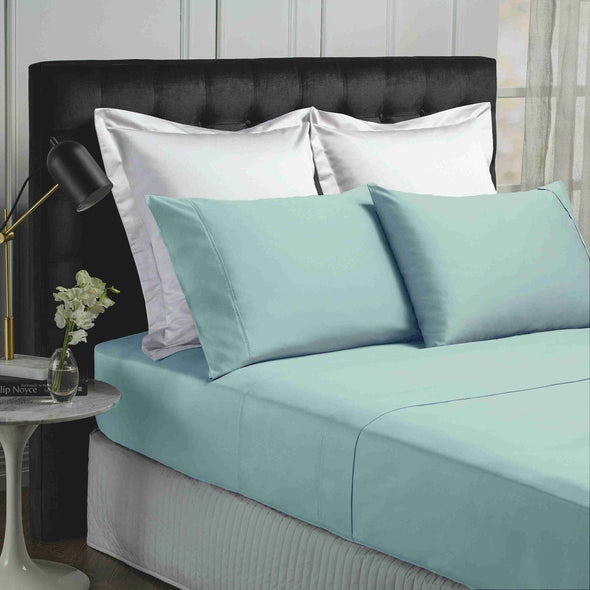Park Avenue 500 Thread Count Cotton Bamboo Sheet Sets King Blue Fog