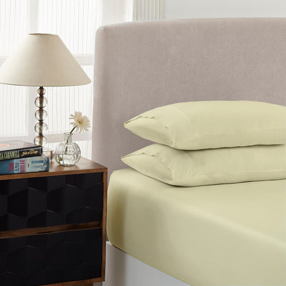 Royal Comfort 1500 Tc Cotton Rich Fitted Sheet 2 Pc Set Single-Ivory