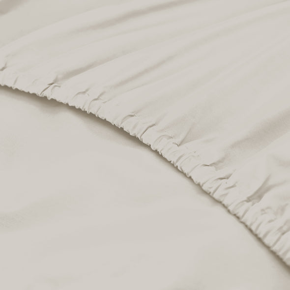Royal Comfort 1500 TC Cotton Rich Fitted sheet 3 PC Set Queen-Ivory