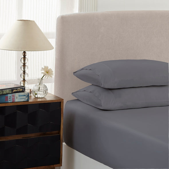 Royal Comfort 1500 TC Cotton Rich Fitted sheet 3 PC Set King-Dusk Grey