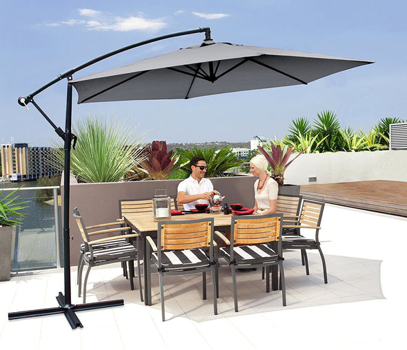 Milano Outdoor - Outdoor 3 Meter Hanging and Folding Umbrella Colour - Grey