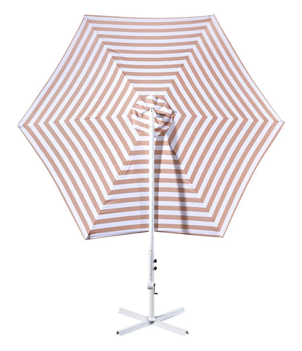 Milano Outdoor 3 Meter Hanging and Folding Umbrella - Sand and White Stripe