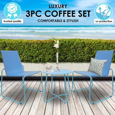 Milano Outdoor Steel/Rattan 3 Piece Blue Coffee Set (1 Box)