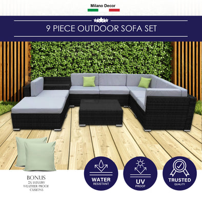 Milano Outdoor 9 Piece Rattan Sofa Set - Black Coating & Grey Seats (6 Boxes)
