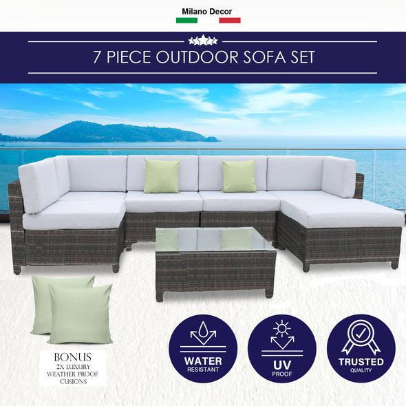 Milano Outdoor 7 Piece Oatmeal Rattan Sofa Set - Black Coating & Grey Seats (7 Boxes)