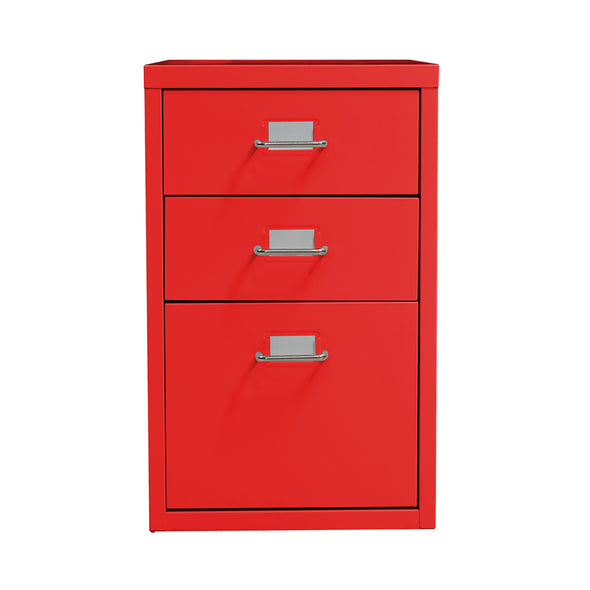 3 Tiers Steel Orgainer Metal File Cabinet With Drawers Office Furniture Red