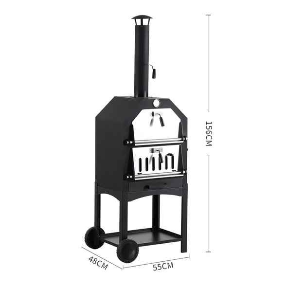 3 in 1 Charcoal Smoker BBQ Grill Portable Outdoor Steel Pizza Oven Steamer