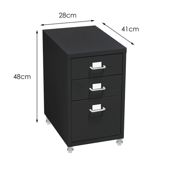 3 Tiers Steel Orgainer Metal File Cabinet With Drawers Office Furniture Black