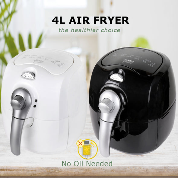 Kitchen Couture 4L Manual Air Fryer  White With Silver
