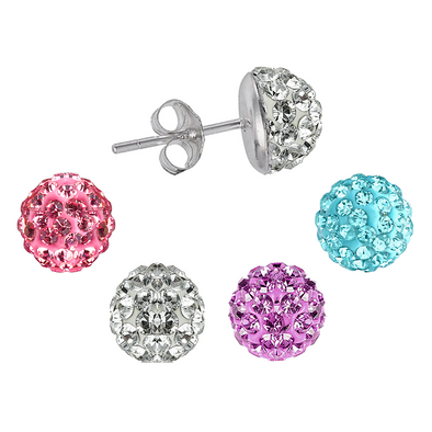 OROBELLE Set of 4 pairs of Silver Domed Earrings featuring SWAROVSKI ® Crystals
