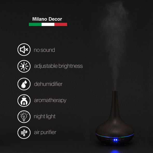 Milano Decor Ultrasonic Aroma Diffuser - Dark Wood Grain Color